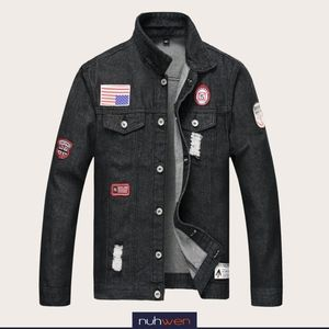Black Wash Ripped Denim Jean Jacket with Patches